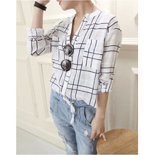 Women's stand collar check pattern printed shirt