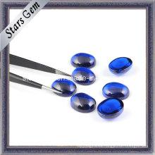 Corindón sintético 34 # Sapphire Ovalado Cabochon para la joyería de la manera