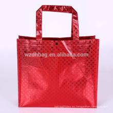 Reutilizable metálico laminado laminado bolsa de compras de bolsas de supermercado para la promoción, supermercado y publicidad