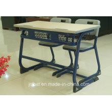 Hot vendendo plástico duplo Studend mesa e cadeira conjunto