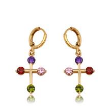 91903 pendientes de la gota de las mujeres sintéticas del zircon del color oro de la moda 18k de xuping