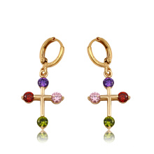 91903 xuping high quality fashion 18k gold color synthetic zircon women's drop earrings