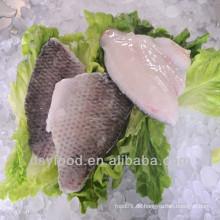 Hochwertige Haut auf schwarzem Tilapia-Filet