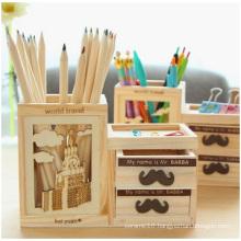 Promotional Creative Hollow Pen Holder, Wooden Double Puzzle Pen Holder