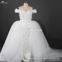 RSW876 vestidos de boda desprendibles de Tulle Overskirt 2015 China para la mujer gorda en Dubai con el tren desmontable
