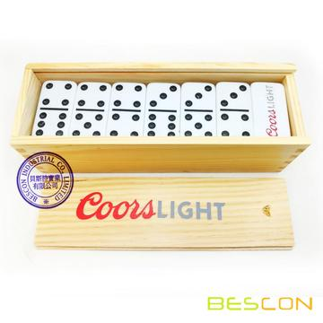 Wooden Box Set Custom Logo Engraving Domino