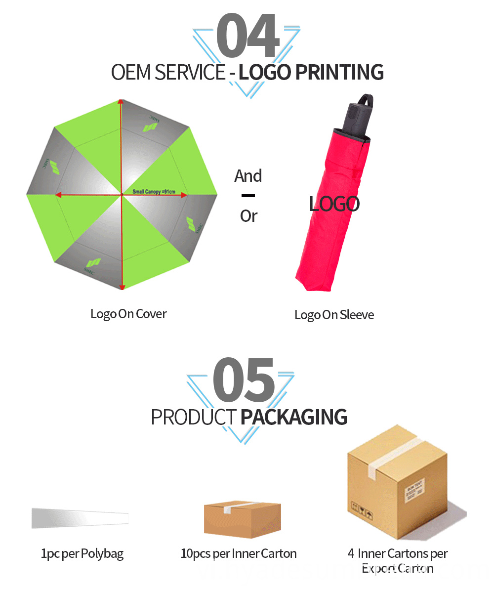 3 Folding Umbrella Red Packaging And Printing