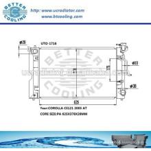 Radiador de agua para Toyota Corolla CE121 2005 OEM: 164006A290