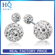 cheap crystal jewelry Austrian crystal ball stud earrings 925 silver 10mm