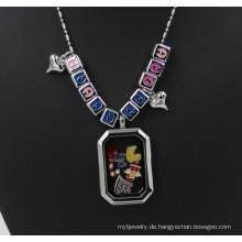 33mm Glattes Rechteck Leben Glas Locket Regular Letter Halskette
