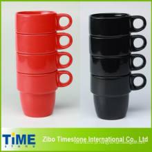 8oz conjunto de caneca de café empilhável de cerâmica