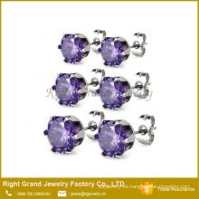 Púrpura de acero inoxidable redonda Circonita en forma de zarcillos
