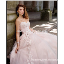 2017 latest fashion strapless lace appliqued ball gown European style wedding dress