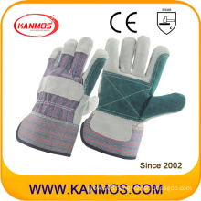 Double Palm Industrial Safety Cow Split Leather Work Gloves (110141)