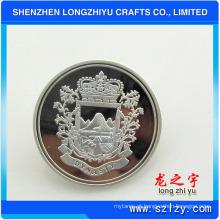 Prata brilhante personalizada e botão de crachá de pino de metal chapeado dupla prata fosco