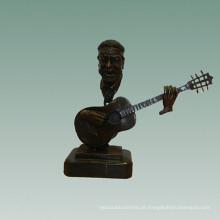 Busto Bronze Estátua Guitarra Decoração Escultura De Bronze Tpy-754