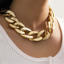 Simple single-layer hip-hop CCB chain necklace for women retro accessory necklace