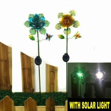 Garden Decoration Metal Bright Colored Flower Solar Light Stake Craft