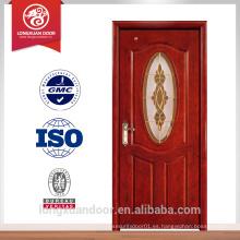 Diseño de puerta de cristal de madera de Guangzhou, mdf para la puerta interior