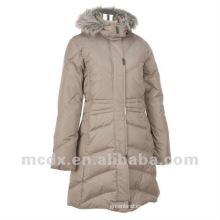 Mujeres de estilo largo de la manera de la marca de fábrica abajo chaqueta