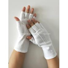 Luvas de algodão meio dedo branco