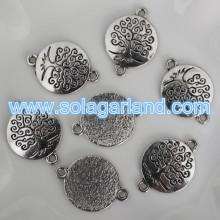 Wholesale Imitate Tibetan Silver Round Connector Charm Pendant