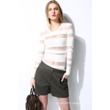 Spring Round Neck Translucent Knit Women Sweater