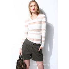 Primavera Rodada Pescoço Translúcido Knit Mulher Camisola