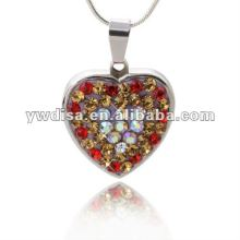 Fashion New Design Heart Shape Alloy Crystal Pendant With Competitive Price