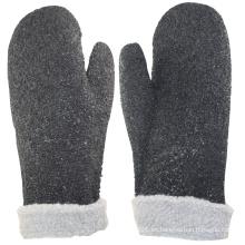 NMSAFETY piel de peluche negra de interbloqueo de PVC con puntos negros de PVC en el guante de superficie