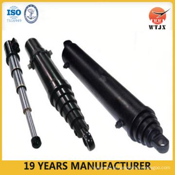 Cilindro hidráulico telescópico de descarga lateral / cilindro pesado usado para caminhões basculantes / cilindros hidráulicos
