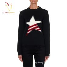 Ladies Crew neck star design cashmere pullover sweater