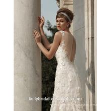 ZM16007 Brautkleider 2016 Brautkleider Vestidos De Novia Sexy Blumen Meerjungfrau Strand ärmellosen offenen Hochzeitskleider