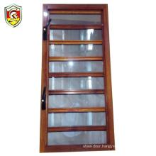 1.5mm thick powder coated wooden grain aluminium alloy frame louver shutter standard size bathroom window