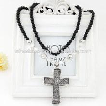 2014 Collar de moda cruz de diamante con cuentas negras