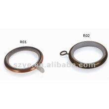 R01 anneaux de rideau en métal plaqué en cuivre de 25 mm pour tige de rideau