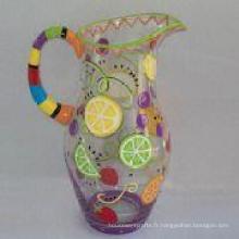 Antiquité cuisine colorée verrerie vente en gros verre thé jus cruche