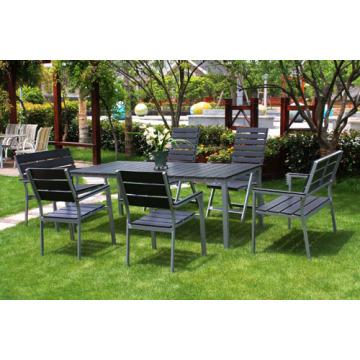 Al aire libre muebles de madera gris 7pc imitado madera set de comedor