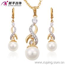 63143 Moda Delicate Women Gold Banhado Zircon Jewelry Set com pérolas de imitação