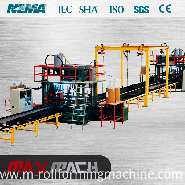 Horizontal h beam welding line
