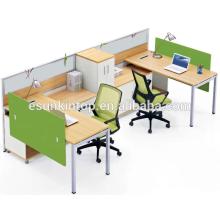 Oficina de oficina de dos personas de madera de melocotón y cálida tapicería blanca, Pro fábrica de muebles de oficina (JO-4047)