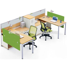 Two people office workstation peach wood and warm white upholstery, Pro office furniture factory (JO-4047)