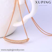 C204172-41847 Xuping-Qualitätsart und weise rosafarbene Goldfarbehalskette