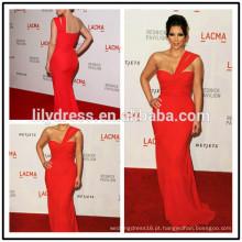 Red One Shoulder Mermaid Floor Length Custom Made Red Carpet Celebration Vestidos KD011 kim kardashian vestido