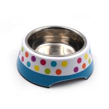 Edelstahl Pet Bowl mit abnehmbarer Melaminbasis
