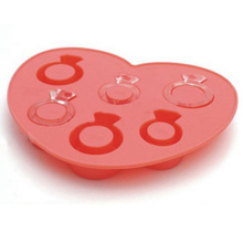 Promotional High Quality Love Ring Shape Silicone Ice Cube Tray