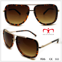 Plástico unissex quadrados óculos de sol com decoração de metal (wsp508323)