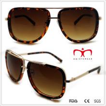 Пластмассовые унисекс квадратные солнечные очки с металлическим украшением (WSP508323)