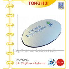 Placa de identificação / acessório de escova de alumínio oval com logotipo de impressão