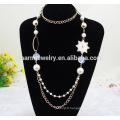 2015 NK011 Pearl Chain Fashion Sweater Chain Geometry Long Wholesale Sweater Chain Casual style Long Necklace